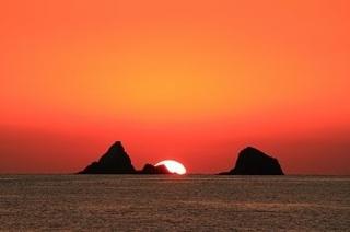 故郷坊津の海に沈む夕陽
